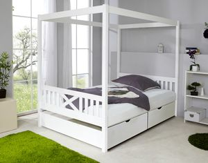 TiCAA Himmelbett Lino Kiefer Weiß 140x200