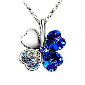 Halskette Damen Kleeblatt Glücksbringer Collier Zirkonia Strass Kristall blau