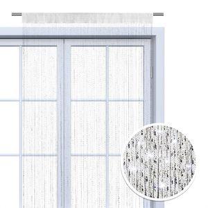 WOMETO Faden-Vorhang Glitzer-Vorhang 90x245 cm - weiß-silber glänzender Deko Schal transparent halbtransparent Weihnachten