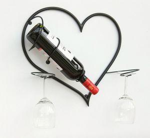 DanDiBo Wandbild Weinregal Herz Flaschenständer aus Metall 38 cm Flaschenhalter Wandregal