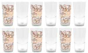 12er Set Mix Latte Macchiato Glas 39cl stapelbar mit Nachbildung / ohne Nachbildung