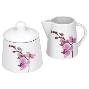 Kaffeeergänzungsset Milchkännchen & Zuckerdose Kyoto Orchidee