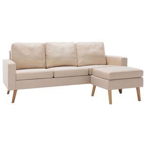 vidaXL 3-Sitzer-Sofa mit Hocker Creme Stoff