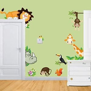 Wandtattoo Kinderzimmer Wandsticker Süße Tiere Giraffe Affe Löwe Zoo 30 x 90 cm