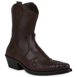 Mytrendshoe Herren Stiefel Cowboy Boots Western Schuhe Cowboystiefel 833742, Farbe: Dunkelbraun, Größe: 41