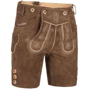PAULGOS Herren Trachten Lederhose kurz - HK2 - Echtes Leder - in 2 Farben erhältlich - Größe 44 - 60 , Farbe:Hellbraun, Größe:48