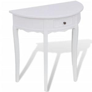 【Neu】Beistelltische Konsolentisch mit Schublade Halbrund Weiß Gesamtgröße:80 x 40 x 78 cm BEST SELLER-Möbel-Tische-Ziertische-Beistelltische im Landhaus-Stil