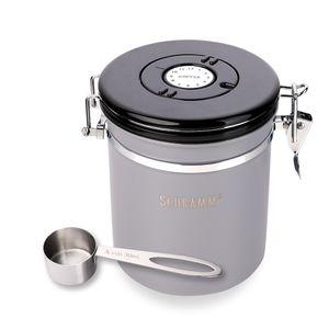 Schramm® Kaffeedose 1500 ml in 10 Farben mit Dosierlöffel Höhe: 15cm Kaffeedosen Kaffeebehälter aus Edelstahl , Farbe:grau