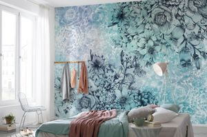 "Komar Vlies Fototapete ""Windflowers"", blau/türkis, 368 x 248 cm"