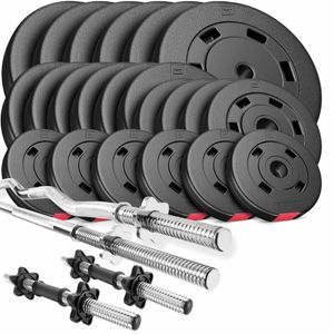 Hop-Sport Hantelset 125 kg 1x Langhantel-Stange, 1x SZ Curl-Stange, 2X Kurzhanteln, Gewichte 6x10kg / 6x5kg / 4x2,5kg / 6x1,25kg