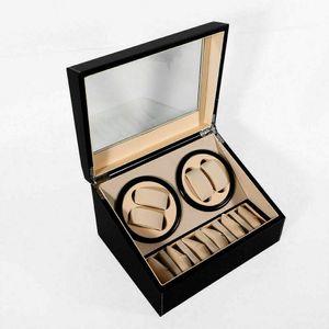 Uhrenbeweger Holz Watch Winder Box Uhrenkasten für 4 + 6 Uhren, Uhrenbox Mute Automatische Uhrenbeweger Laufleise, Watch Winder