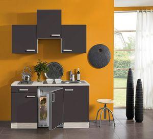 Singleküche mit Elektrogeräten Faro 150 cm breit in anthrazit mit Edelstahlspüle