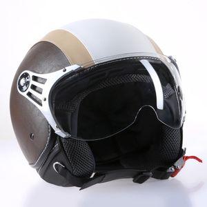"""Motorradhelm Jethelm Rollerhelm Helm CMX """"Chap"""" weiß  beige mit Leder braun : L"""