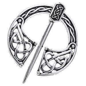 Mittelalterliche Wikinger Nordische Brosche Pin Umhang Seide Schal Anstecknadel Verschluss Silber 5x3,9 cm