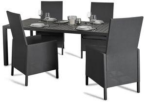 Grasekamp Dinnerset Sol 5 teilig - Esstisch und 4x  Hochlehner aus Aluminium/Textilene