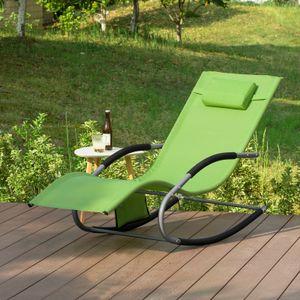 SoBuy OGS28-GR Swingliege Schaukelliege Sonnenliege Liegestuhl Gartenliege mit Tasche Gewebe in Grün