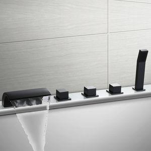 Schwarz Badewannenarmatur 5-Loch Armatur für Badewanne Wasserhahn Wasserfall Wannenbatterie für den Wannenrand