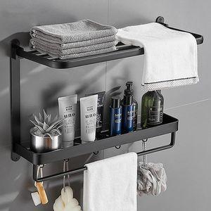 Handtuchhalter ,Handtuchstange mit Stangen und Haken und Ablage, Aluminium Duschablage Ohne Bohren, Mattschwarzer Handtuchhalter, Badezimmerablageregal