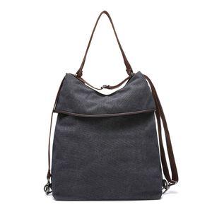 JOSEKO Canvas Tasche Segeltuch Schultertasche Damen Rucksack Handtasche Vintage Damen Umhängentasche für Reise Outdoor Schule Einkauf Alltag Büro - Schwarz