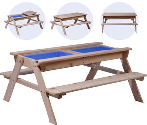 dobar Kinder Picknicktisch inklusive Matschkiste, Spieltisch ausHolz, 107 x 94 x 50,5 cm