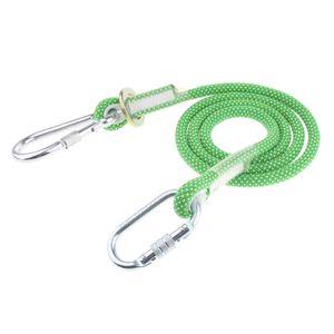 Kletterseil, Sicherheitsseil Abseilen Seil mit Karabiner für Ourdoor Grün 3m-Einfachseil Kleine Schnalle