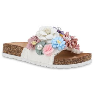 Mytrendshoe Damen Sandalen Pantoletten Hausschuhe Blumen Schuhe 834325, Farbe: Weiß, Größe: 37