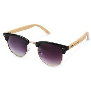 Navaris Holz Sonnenbrille UV400 - Damen Herren Retro Brille Holzoptik - Uni Bambus Holzbrille mit Etui - unterschiedliche Farben