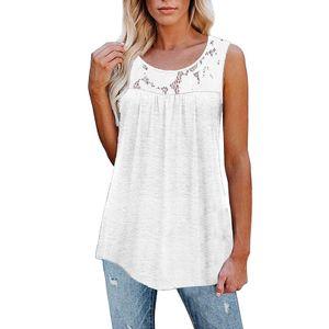 Damen Ärmelloses Spitzen-Stitching-Tank-Top-Sweatshirt,Farbe: Weiß,Größe:5XL