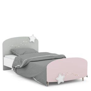 Kinderbett Sternschnuppe 90*200 cm rosa weiß grau Mädchen Prinzessin Kinderzimmer Holz Liege Einzel Gestell Jugendbett