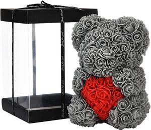 Rosenblumenbär - Über 250 Blumen auf jedem Rosenbären - Geschenk für Muttertag, Valentinstag, Jubiläum und Brautduschen - Klare Geschenkbox inklusive! 10 Zoll groß (Gray, 10in)