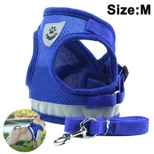 Hundegeschirr Step-In Air Mesh Brustgeschirr Hund Verstellbar für Welpen Kleine Mittelgroße Große Hunde (Blau M)