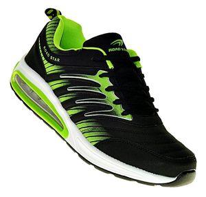 Neon Turnschuhe Schuhe Sneaker Sportschuhe Luftpolstersohle Damen Herren 016, Schuhgröße:44, Farbe:Schwarz/Grün