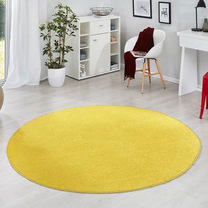 Runder Kurzflor Teppich Uni Fancy rund, Farbe:gelb, Größe:133 cm rund