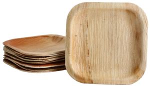 100x viereckiger Teller aus Palmblatt Größe 15x15