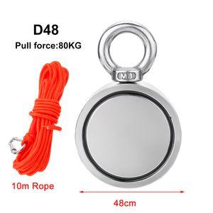 D48-80kg+10M Seile Neodym Magnet Suchmagnet Bergemagnet Metalldetektor Magnetangeln+Seile