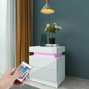 LED Nachtschrank Nachttisch Hochglanz Beistelltisch mit 2 Schubladen Schrank Weiß 45x35.3x53.5cm Spanplatte Kommode Schlafzimmer Ablage