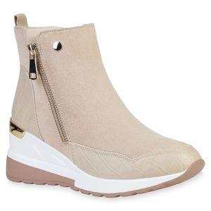 VAN HILL Damen Sneaker Zipper Leicht Gefütterte Keilabsatz Schuhe 836217, Farbe: Creme, Größe: 38