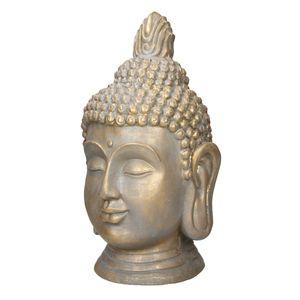ECD Germany Buddha Kopf Statue 53 cm - aus Polyresin - Bronzeoptik - f?r Yoga, Feng Shui oder Meditationsraum - Haus, Wohnung & Garten - Innen / Au?en - Dekoration Deko Skulptur Figur Gartenfigur