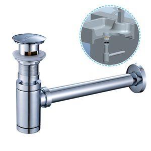 Sifon Siphon Pop Up Ablaufventil Waschbecken Abfluss Ablaufgarnitur mit Überlauf