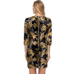 Frauen Pailletten, figurbetontes Kleid mit 3/4 aermeln, O-Ausschnitt, Abend-Party, laessig, MinikleidXL