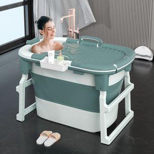 Sunnyme Faltbare Mobile Badewanne für Erwachsene Ideal für kleine Badezimmer Klapp Badewanne mit Abdeckung für erwachsene und Kinder Grün