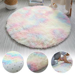 80cm Regenbogen Runden Flauschige Teppiche Bettvorleger Soft Shaggy Hochflor