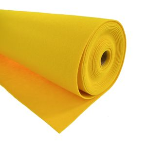Bastelfilz 1m Meterware Filz 90cm x 1,5mm Dekofilz Taschenfilz Filzstoff 39 Farben, Farbe:gelb