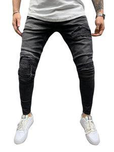 Herren Biker Jeans Slim Fit Distressed Röhrenjeans Zerrissene Stretch-JeanshoseDY-8831男士机车皱褶弹力小脚牛仔裤 黑色 S,Farbe:Schwarz, Größe:S