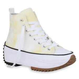 Giralin Damen Plateau Sneaker Blockabsatz Schnürer Profil-Sohle Schuhe 836555, Farbe: Hellgelb, Größe: 37