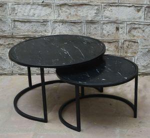 2er Set Couchtisch Jamie rund schwarz Marmor Stahl Satztische Beistelltisch Sofatisch