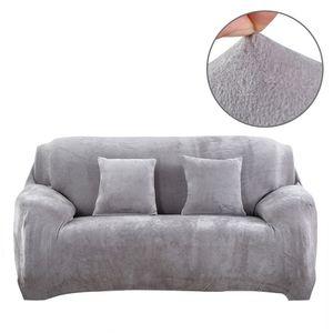 Elastischer Sofabezug Sofa-Überwürfe Thick Velvet Sofahusse Couchhusse Plüsch Sofa Schonbezüge Möbel Protector(Silber, 2 Sitzer (140-185cm))
