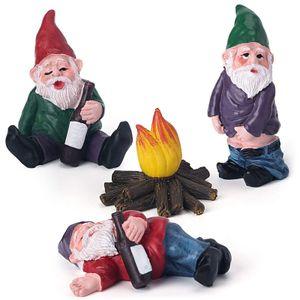 4 Stück / Set Zwerge Statue Gartenzubehör Dekorationen Sammlerfiguren Miniatur Gartenzwerge Figuren Ornamente