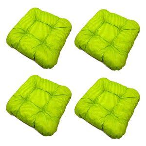 4er Set Sitzkissen Polyester Baumwolle Grün Stuhlkissen Bankauflage Stuhl Kissen Dekokissen Stuhlauflage Bankkissen Sitzpolster Gartenkissen