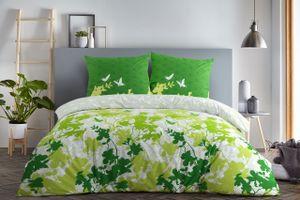 etérea Baumwolle Bettwäsche - Osaka Schmetterlinge - weich und pflegeleicht  2 teilig 135x200 cm + 80x80 cm  Grün